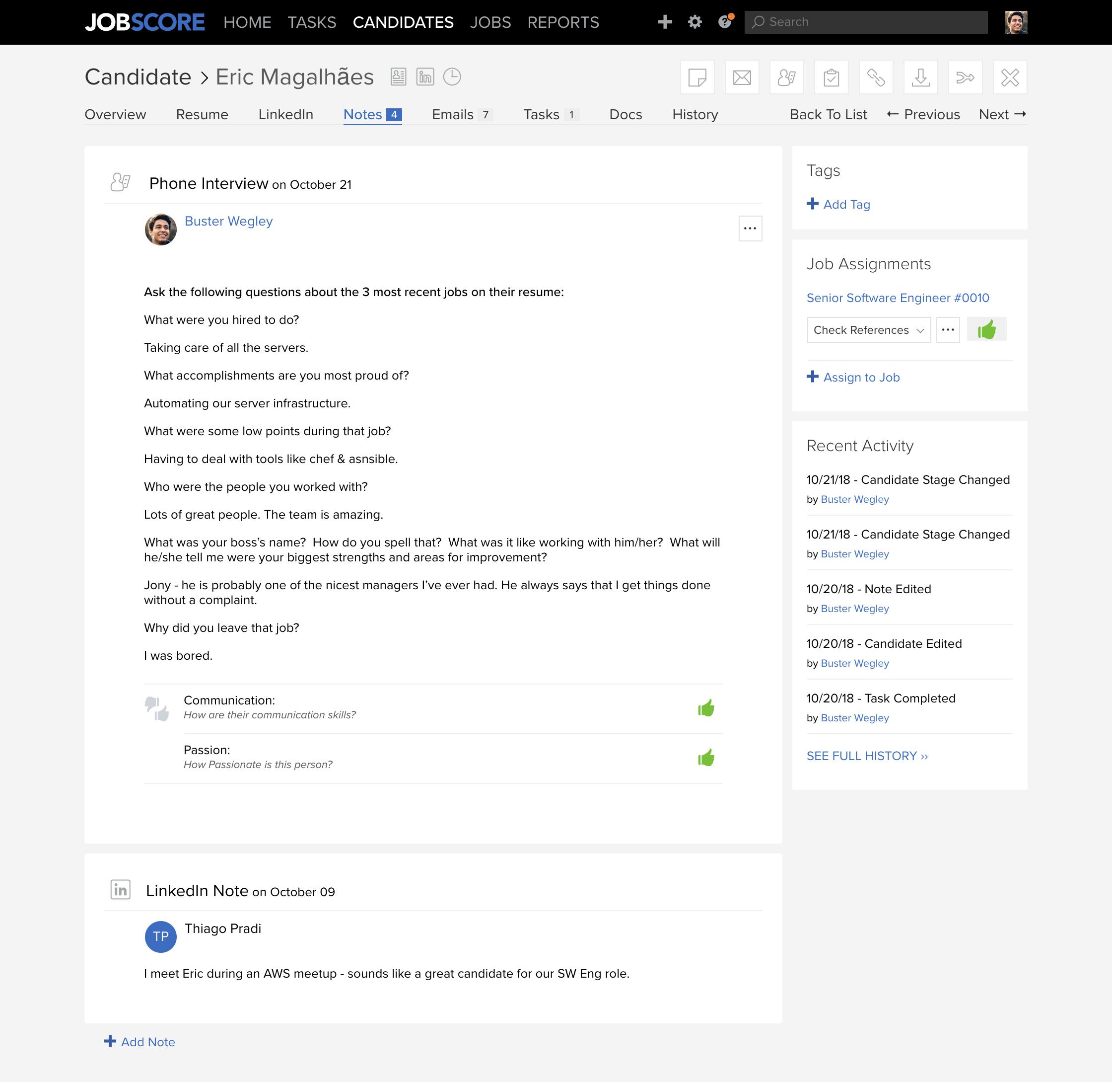 view linkedin inmails in jobscore