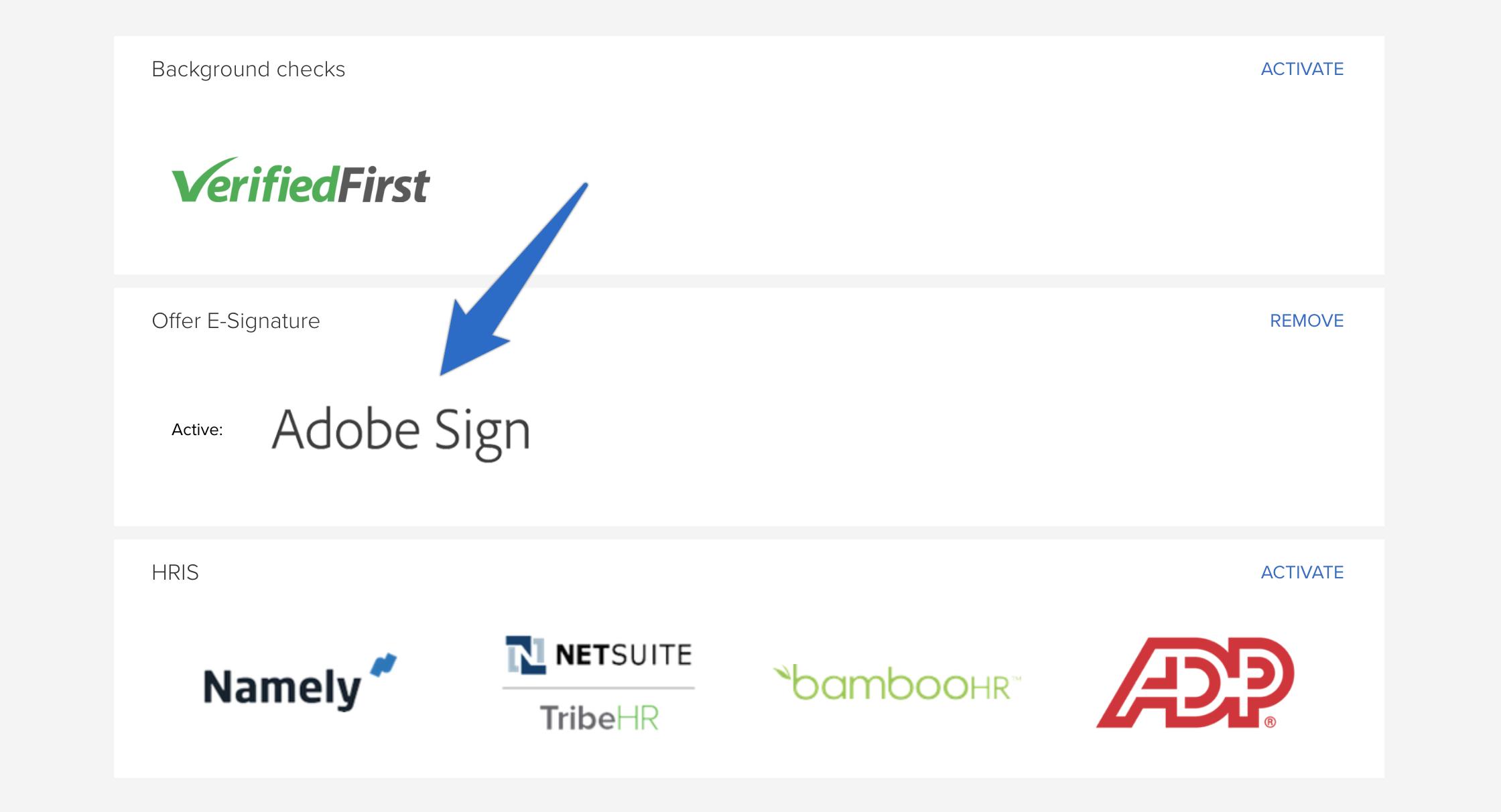 How do I use the Adobe Sign e-signature integration